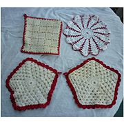 Red and White Crochet Potholder Group
