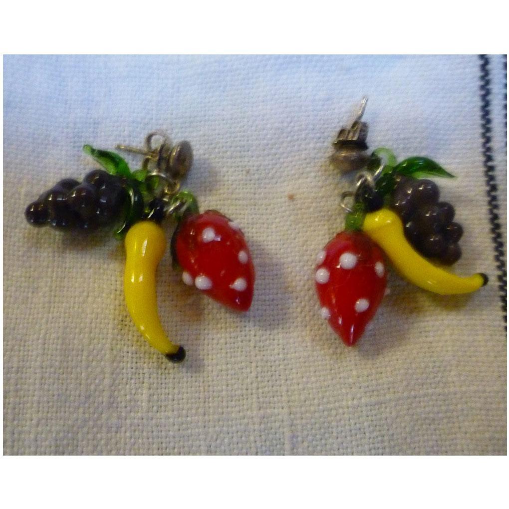 Glass Fruit Salad Dangles Pierced Earrings