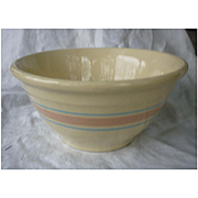 Vintage 1960s 70s McCoy Mixing Bowl Pink and Blue Stripe Stonecraft 10 Inch Bowl