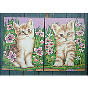 Cute Fluffy Kittens with Flowers Vintage Paint-by-Numbers Paintings Set of 2