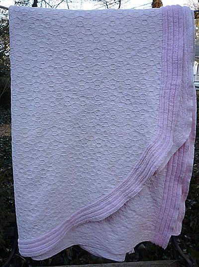 Morgan Jones Pale Pink Chenille and Woven Vintage Bedspread