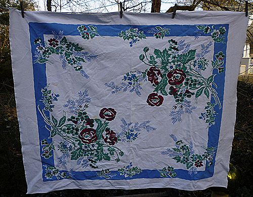 Fiatelle Dark Red Blue Green Flowers Vintage 1950's Print Tablecloth