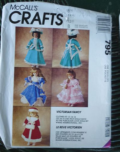 McCall's Crafts Victorian Fancy Doll Clothes Pattern 795