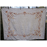 Rich Floral Border Hand Embroidered Heavy Natural Linen Tablecloth