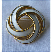 Trifari Goldtone and White Enamel Double Knot Brooch