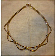 Coro Double Serpentine Chain Goldtone  Scalloped Choker