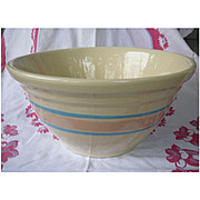 Vintage 60s 70s McCoy Mixing Bowl Pink and Blue Stripe Stonecraft Number 12