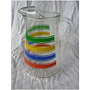 Red Blue Yellow Green Stripes Ice Tea Lemonade Pitcher with Ice Lip