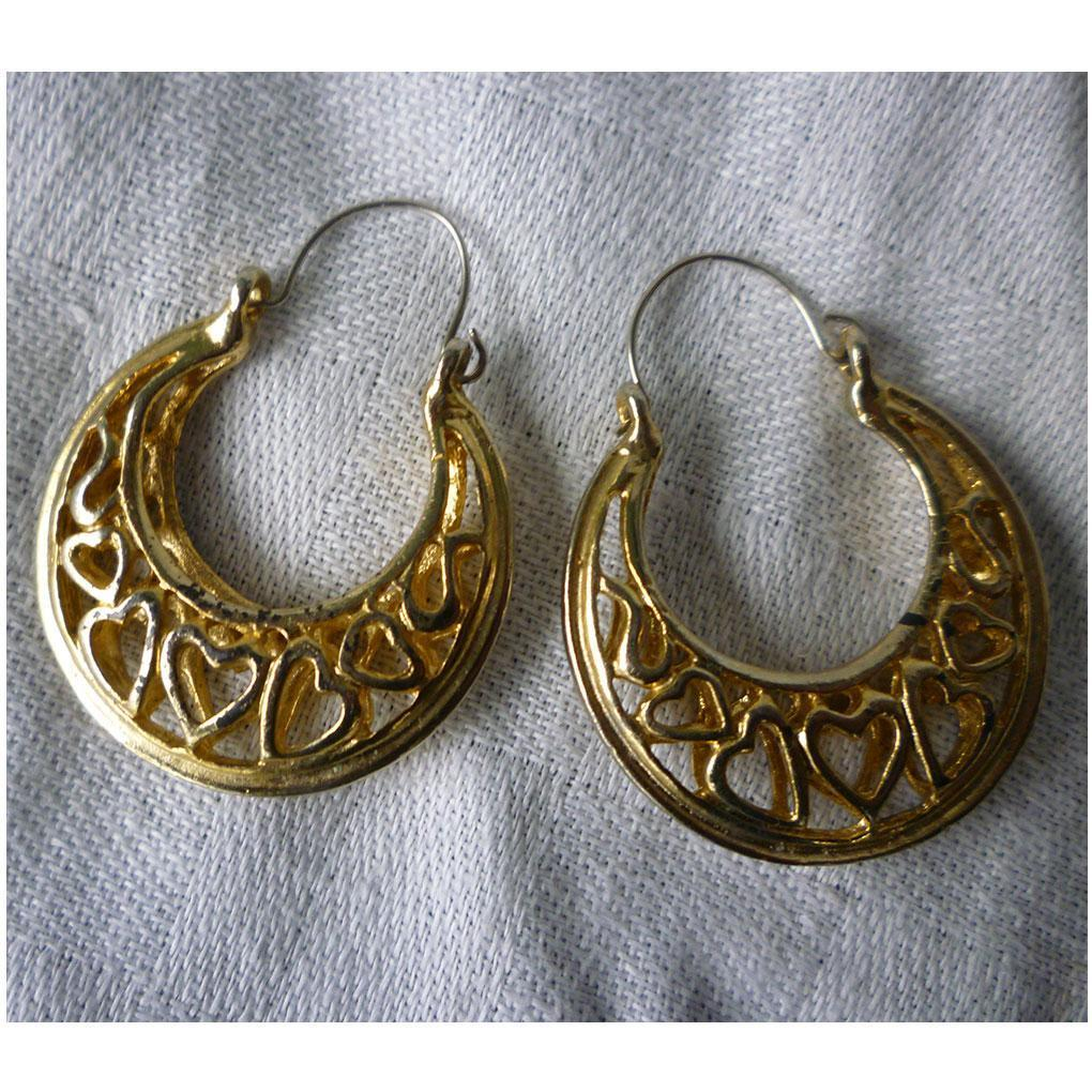 Openwork Sweet Hearts Large Goldtone Hoops Pierced Earrings