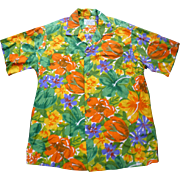 Groovy Orange Yellow Green Purple White Sun Fashions of Hawaii Vintage Hawaiian Aloha Surfer Shirt