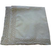 Creamy Soft White Linen Tablecloth with Elaborate Crochet Edge Trim