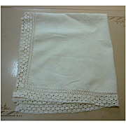 Creamy Soft White Linen Tablecloth with Fancy Crochet Edge Trim