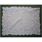 Broderie Anglais White Linen Small Table or Tea Tray Cloth