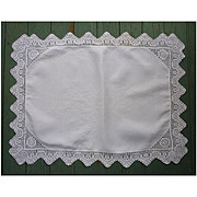 Fancy Lace  Trimmed White Linen  Small Table Tea Tray Cloth