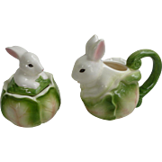 Applause Inc Bunny Rabbits on Cabbage Creamer and Sugar Bowl Set
