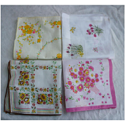 Lovely Floral Group of 4 Vintage Linen Handkerchiefs