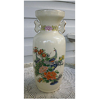 Large Japan Satsuma Style Vase Peacocks and Chrysanthemums