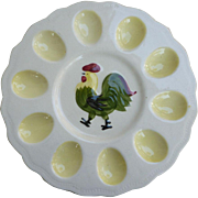 Hand Painted Devilled Egg Plate with Rooster Japan