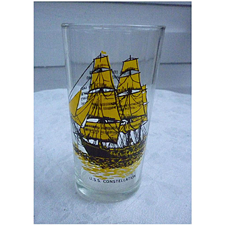 USS Constellation Baltimore Maryland Souvenir Glass