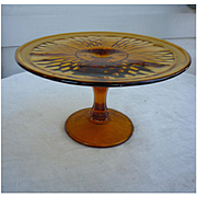Amber Glass Pedestal Cake Stand