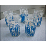 Blue and White Mod Flowers Printed Tumblers Set of Five