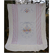 Embroidered Flower Basket Summer Coverlet