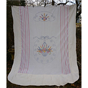 Embroidered Flower Basket Summer Coverlet