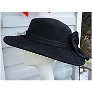Vintage Black Wool Hat Satin Band and Large Bow Georgi Label