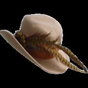 Fascinating Feathers Cockade Vintage Mr John Label Camel Wool Hat