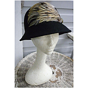 Vintage Black Wool Cloche Hat Trimmed with Feathers Jessica Simpson Label