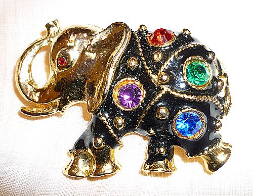 Lucky Elephant  Black Enamel Big Rhinestones Brooch Pin