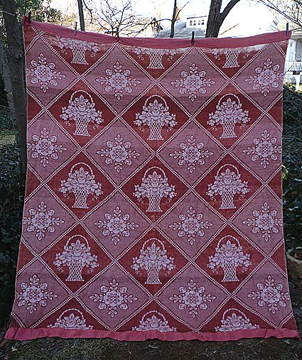 Terra Cotta and White Flower Basket Pattern Vintage Blanket