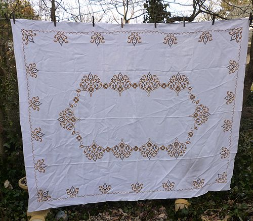 Yellow Gold Black on White Cross Stitch Embroidered Linen Tablecloth