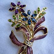 Monet Flower Bouquet and Bow Rhinestones Enamel Brooch