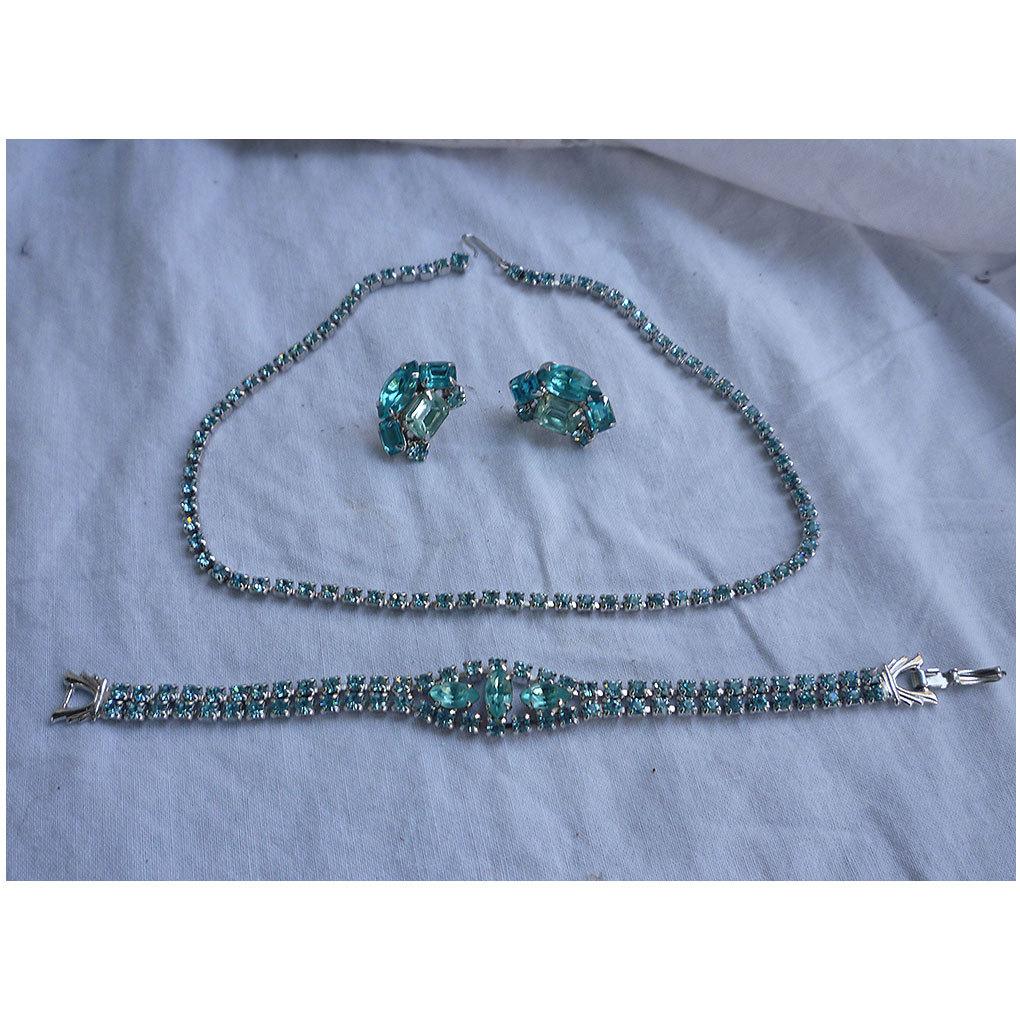 Aquamarine Rhinestones Necklace, Bracelet Earrings Demi Parure