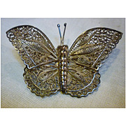 Exquisite Large Mexico Silver 925 Filigree Butterfly Brooch