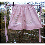 Happy Easter Embroidered Lilies Pretty Pink Vintage Apron