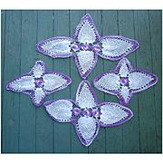 Pretty Purple and White Crochet Doily 4 Piece Set