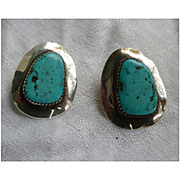 Vintage Navajo Large Turquoise Stones Set in Sterling Silver 925