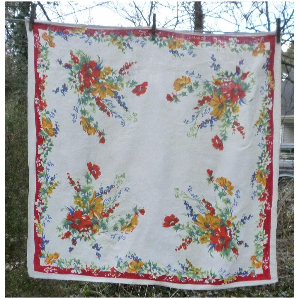 Pride of Flanders Colorful Cosmos Pattern Linen Tablecloth With Original Paper Label