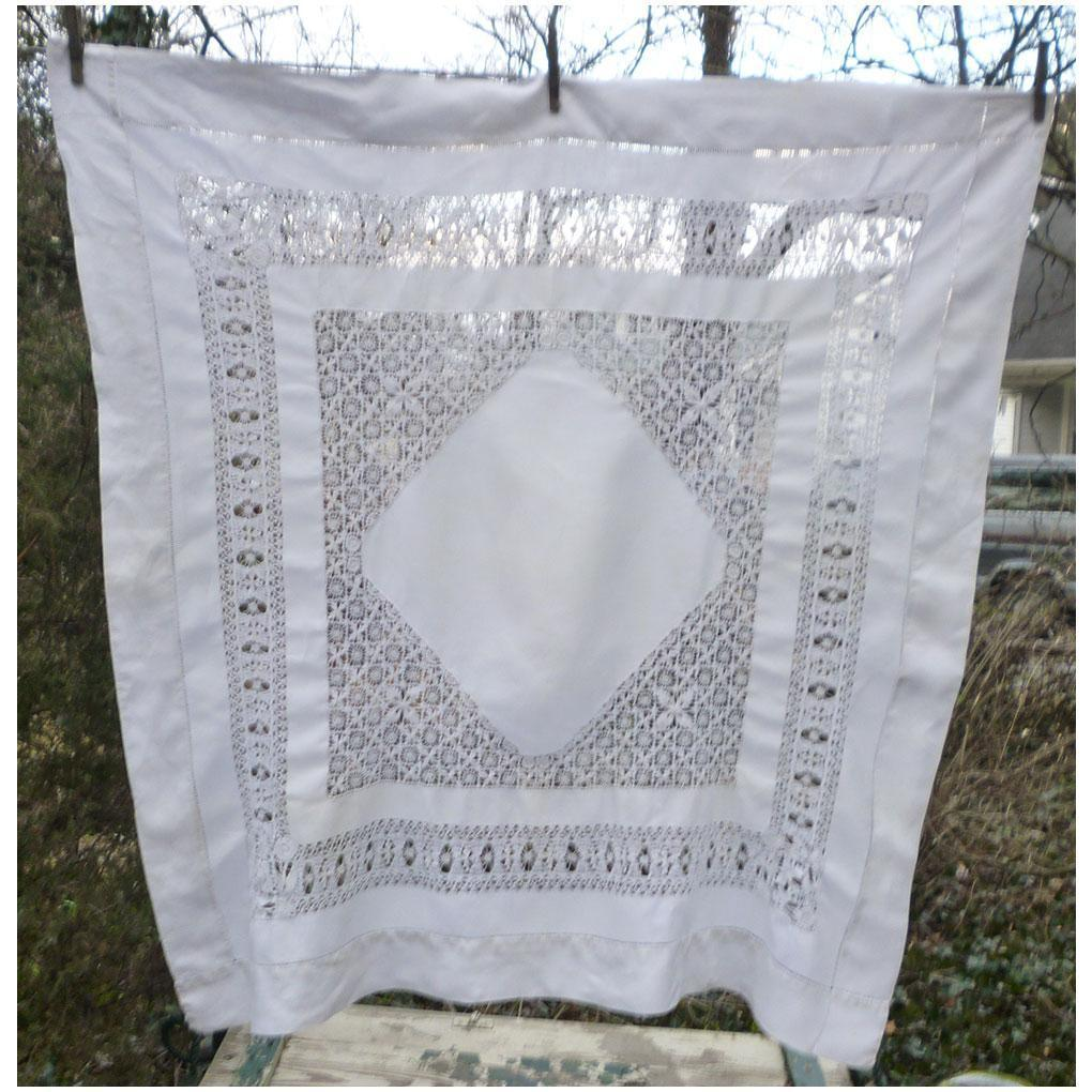 Elaborate Lacey Drawn Thread Open Work Linen Tablecloth Square