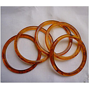Bakelite Rootbeer Applejuice Spacer Stacker Set of 5 Bangles