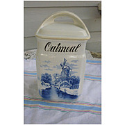 Inge Germany Delft Blue and White Oatmeal Canister with Lid 3862
