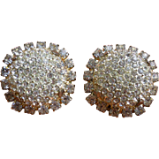 Vintage Jay Strongwater Rhinestones and Crystals Large Clip Earrings