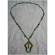 Stunning 1930's Czech Peking Glass and Brass Necklace