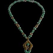 Stunning 1930's Czech Peking Glass and Brass Necklace