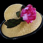 Adolfo II Natural Straw Hat Huge Rose Flower and Green Velvet Trim Kentucky Derby Oaks