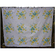 Yellow Roses Willendur Vintage Tablecloth