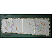 Embroidered Flowers in Planter Boxes with Butterflies Crochet Lace Edging Runner