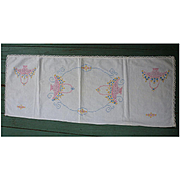 Pink Flower Baskets Yellow Blue Flowers Embroidered Linen Runner